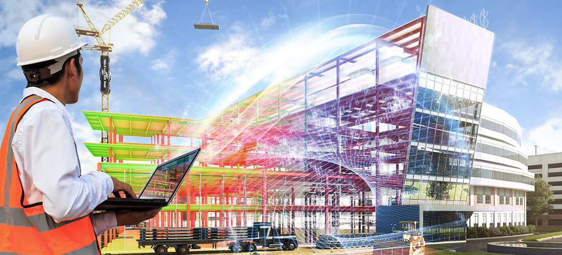 construction worker uses openBIM to connect with teams