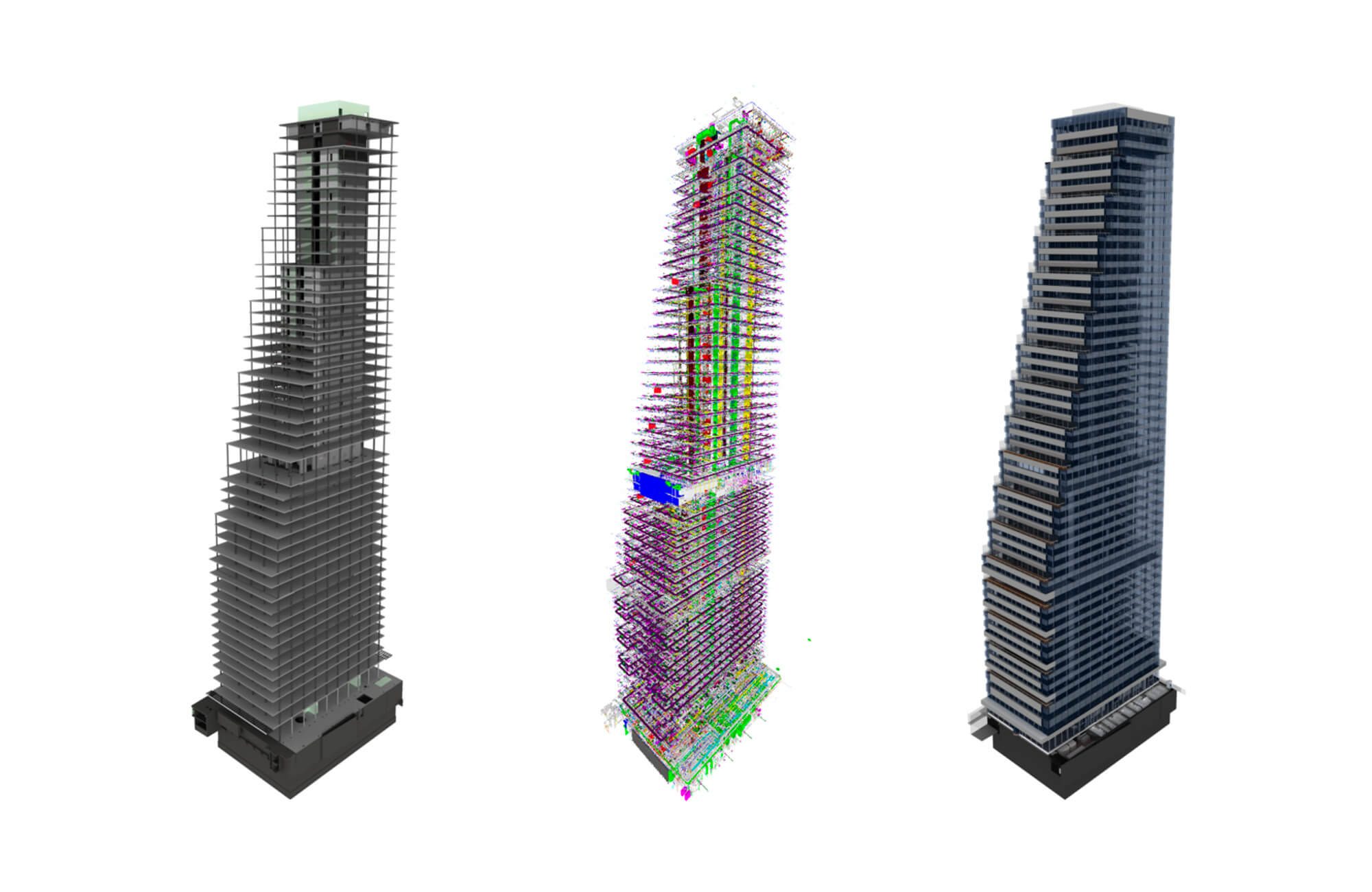 3D views of the three submodels: the structural model (left), the engineering model (center), and the architectural model (right).