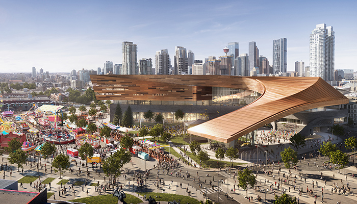 Color rendering of the Calgary Stampede's BMO Convention Centre