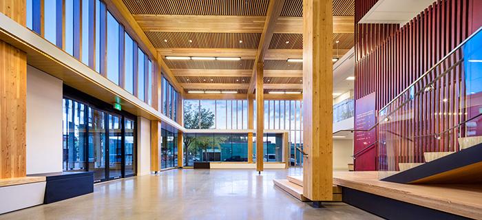 Interior atrium of Wood Innovation and Design Centre