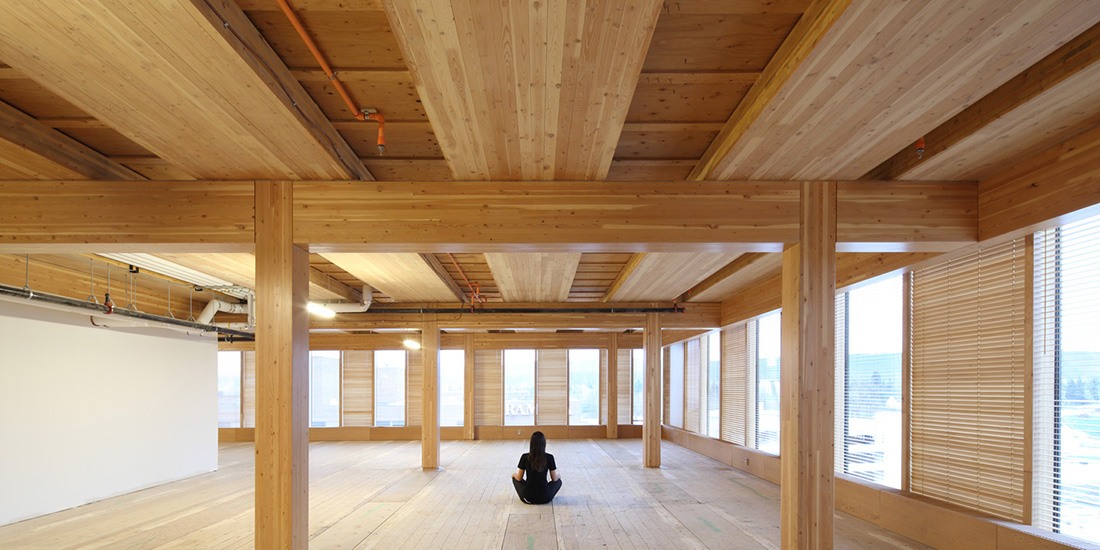 View from behind of person sitting inside the Wood Innovation and Design Centre