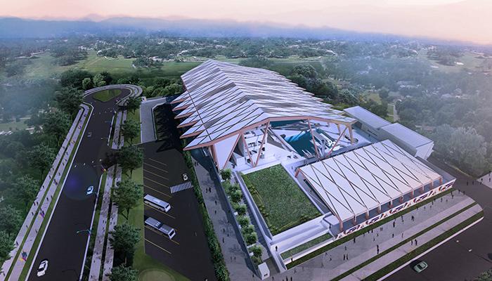 sports stadium design Aquatic Center rendering sea games 2019