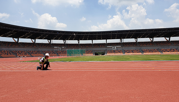 sports stadium design 2019 sea games worker puts final touches on interior track