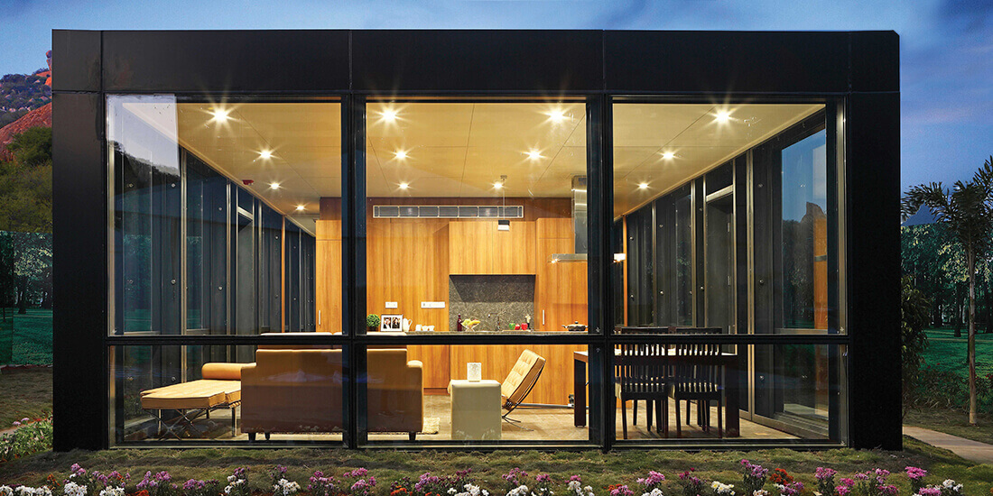 KEF Infra's Philip Johnson House, built in 20 days, highlighting the promise of prefab construction in India