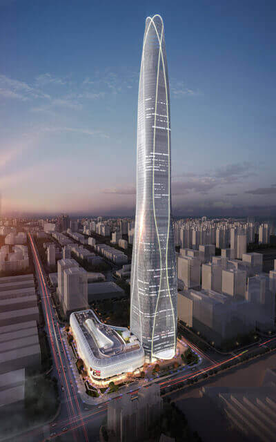 Rendering of prefab skyscraper in Tianjin, China