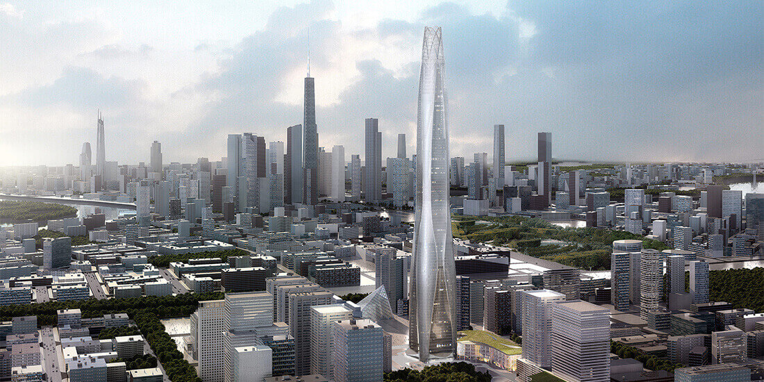 A rendering of the Tianjin Chow Tai Fook Financial Center skyscraper city