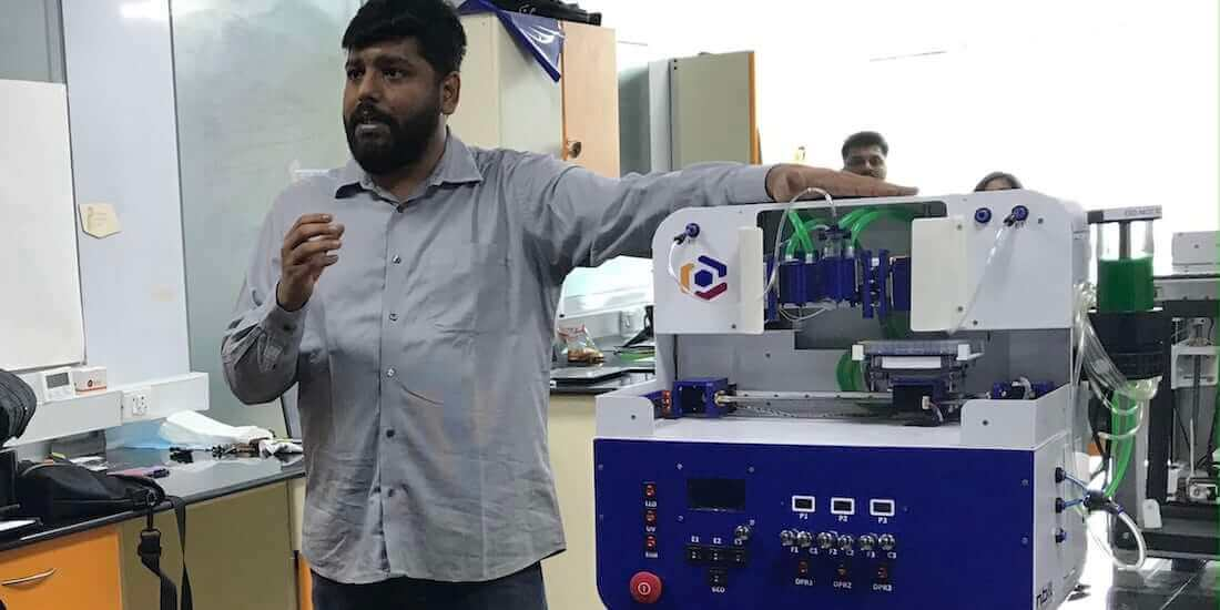 bioprinting skin Innovation Labs Piyush Padmanabhan demonstrates Trivima 3d bioprinter
