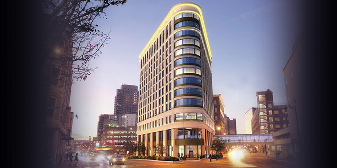 Exterior rendering of new residence hotel at 10 Ionia in Grand Rapids, MI