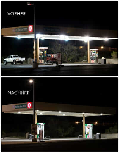 A Circle K gas station designed with warm LEDs with low glare.