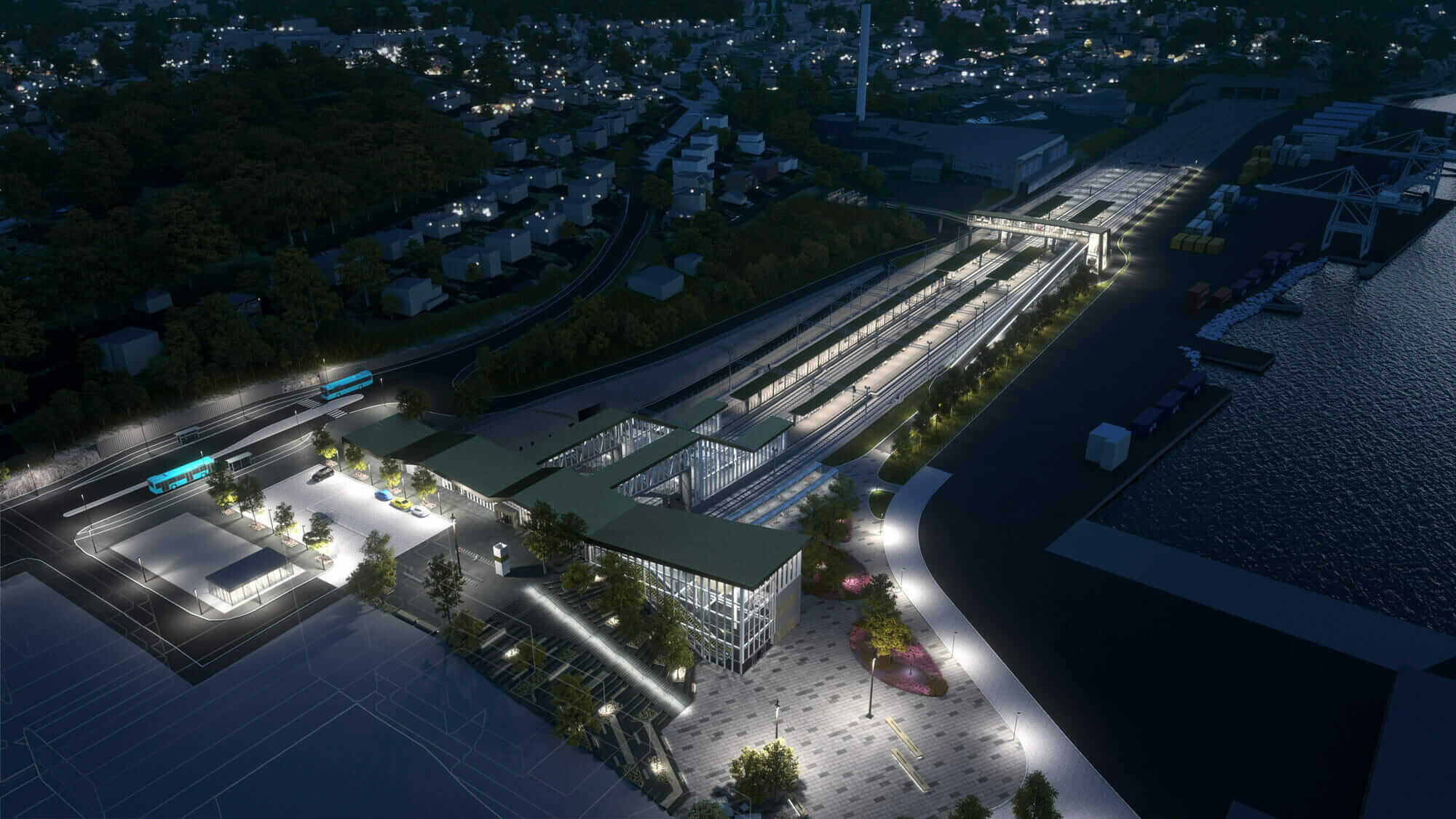 immersive design complex rail project rendering at night