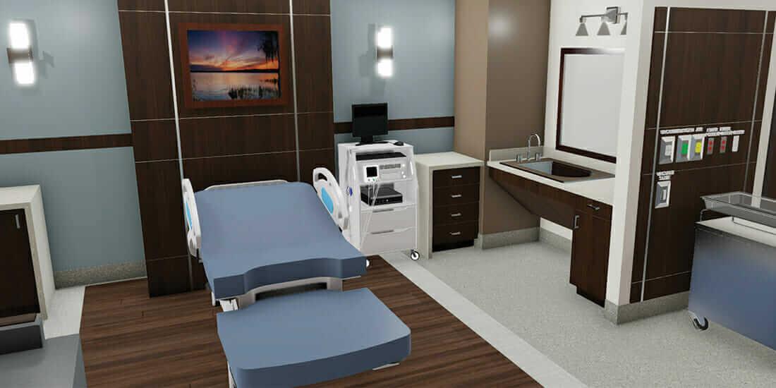 Mit Virtual Reality (VR) spart man im Bau Zeit und Geld, indem man die Technologie in der Planungsphase von Krankenhäusern einsetzt. Mit freundlicher Genehmigung von Layton Construction