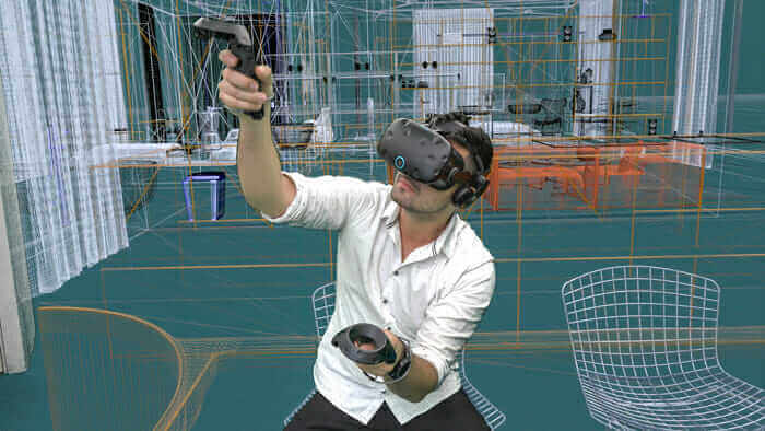 create virtual reality man using VR headset and controllers