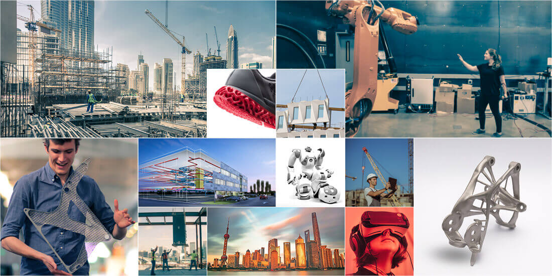 A collage of innovative products created via automation and generative design.