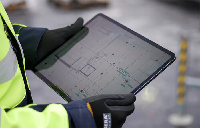 digital construction Skanska's Digital Content Platform on tablet