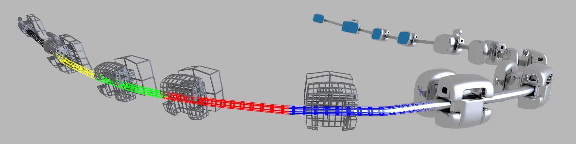 Der urheberrechtlich geschützte SmartArch-Bogendraht von Smarter Alloys kann mit Lasern auf unterschiedliche Stärken programmiert werden. Mit freundlicher Genehmigung von Smarter Alloys.