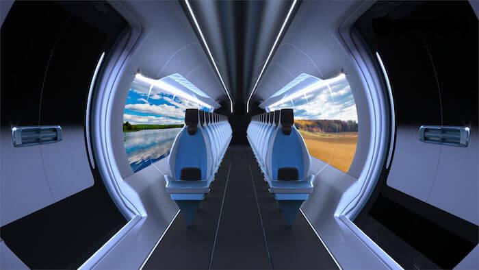 In den fensterlosen Hyperloop-Fahrzeugen könnten Bildschirme den Blick nach draußen erlauben oder eine andere idyllische oder entspannende Landschaft zeigen. Mit freundlicher Genehmigung von Zeleros.
