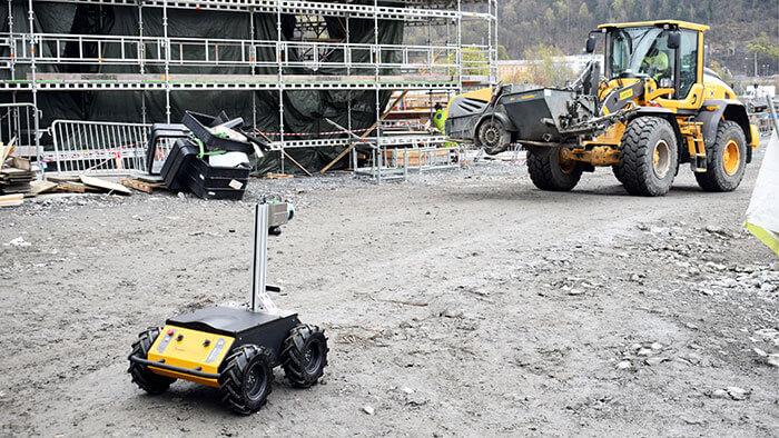 Roboter etablieren sich zunehmend auf Baustellen: ein Roboter von Scaled Robotics. Mit freundlicher Genehmigung von Scaled Robotics.