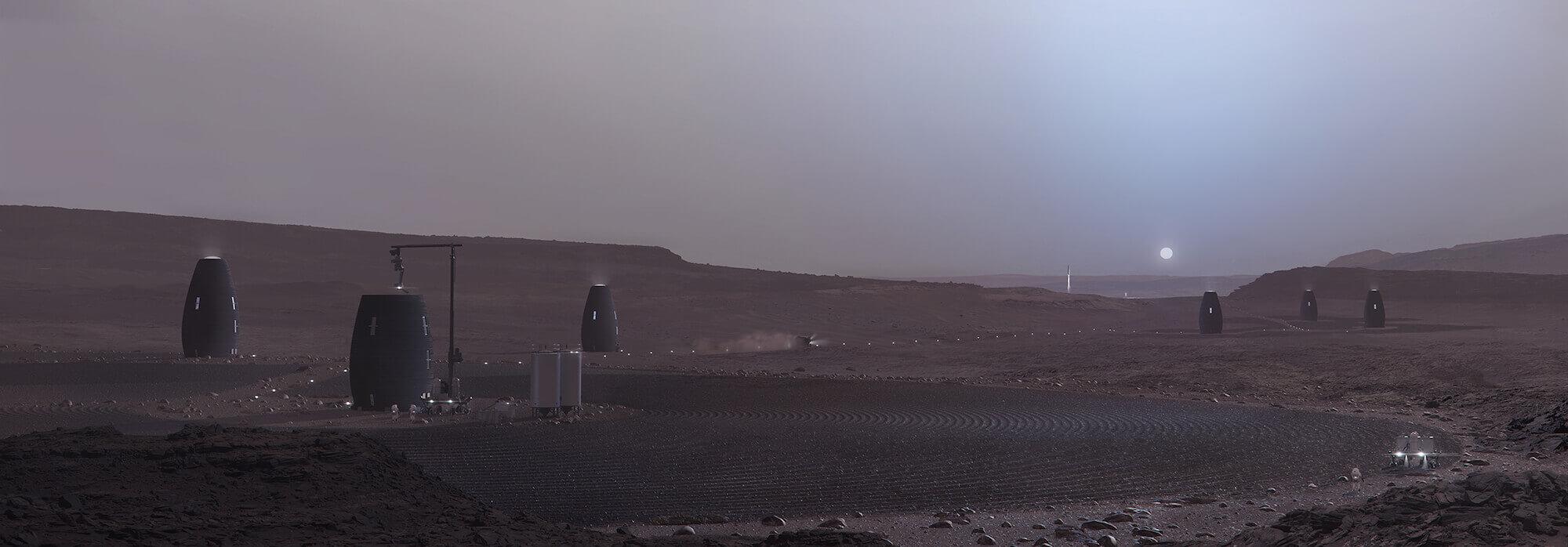 Ein Roboter sammelt auf Mars Werkstoffe für den weiteren Bau. Rendering mit freundlicher Genehmigung von AI SpaceFactory und Plomp.