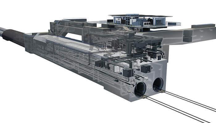 Modelldarstellung für das Projekt Regional Connector zur Streckenerweiterung des U- und Stadtbahnnetzes Los Angeles Metro Rail. Mit freundlicher Genehmigung von Mott MacDonald.