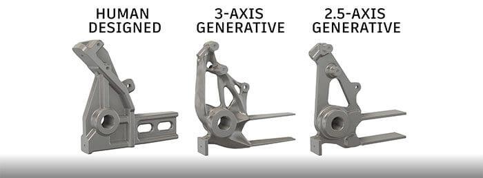 In dieser Abbildung sind drei Varianten des gleichen Werkstücks zu sehen: eine im herkömmlichen Verfahren gefertigte sowie zwei mit Generativem Design entworfene und mit 3 bzw. 2,5-Achs-Bearbeitung im CNC-Fräsverfahren gefertigte.