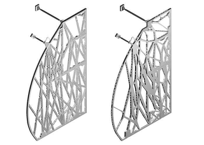 Darstellung der ursprünglichen bionischen Trennwand (links) und rechts daneben der aktuelle Entwurf. Mit freundlicher Genehmigung von Airbus.