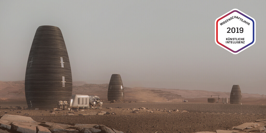 Eine simulierte Ansiedlung von Marsha-Wohnpods auf dem Mars. Rendering mit freundlicher Genehmigung von AI SpaceFactory und Plomp.