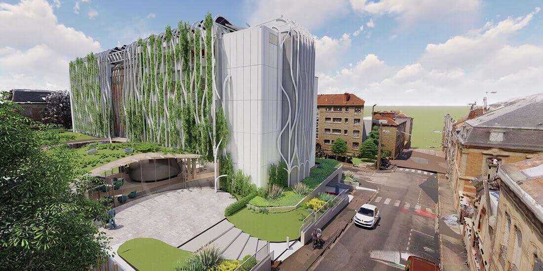 Eine 3D-Visualisierung der grünen Doppelfassade des sanierten CDER-Gebäudes in der Champagne. Mit freundlicher Genehmigung von OuyOut/SAT Manager.
