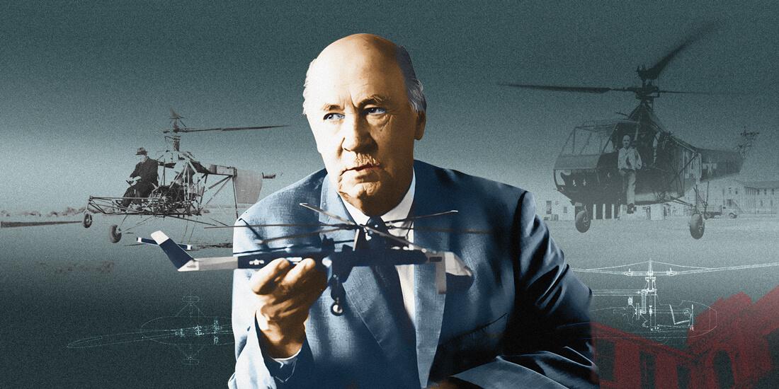 Igor Sikorsky mit Hubschrauber. Bildgestaltung: Earl Otsuka.