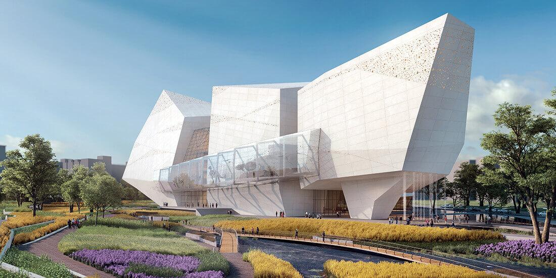 Die Hatfield Group plante das Naturkundemuseum im chinesischen Chengdu in Zusammenarbeit mit Pelli Clarke Pelli Architects. Mit freundlicher Genehmigung von Pelli Clarke Pelli/Steelblue.