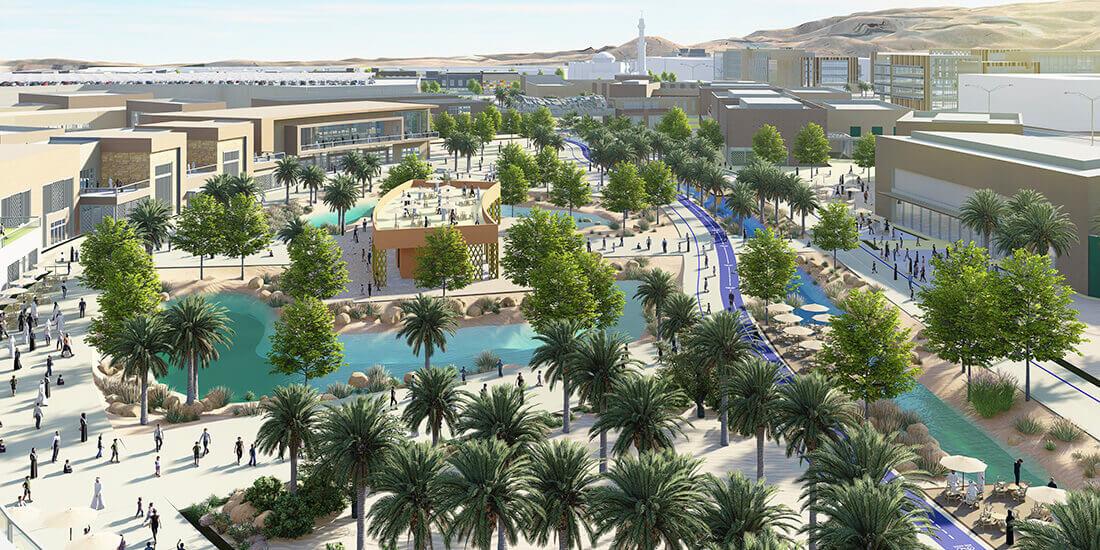 Rendering des Bauprojekts The Plantations am Fuß des geschichtsträchtigen Daschabal Hafit im Emirat Abu Dhabi. Mit freundlicher Genehmigung von GHD.
