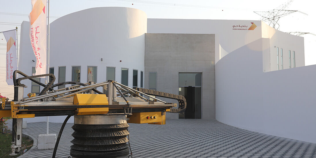 Beim Bau der Wände eines Verwaltungsgebäudes in Dubai vertrauten die Mitarbeiter von Apis Cor auf 3D-Druck. Mit freundlicher Genehmigung von Apis Cor.