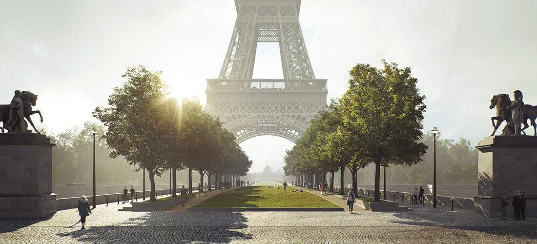 Auf den 54 Hektar zwischen Trocadéro-Palast und Militärakademie soll eine grüne Achse entstehen, die einzig für Fußgänger zugänglich ist. Mit freundlicher Genehmigung von GP+B.