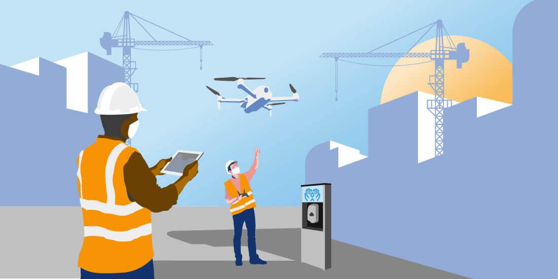 Technologien wie Drohnen oder Roboter können auf einer Baustelle in Zeiten von Corona wichtige Aufgaben übernehmen. Bildgestaltung: Micke Tong