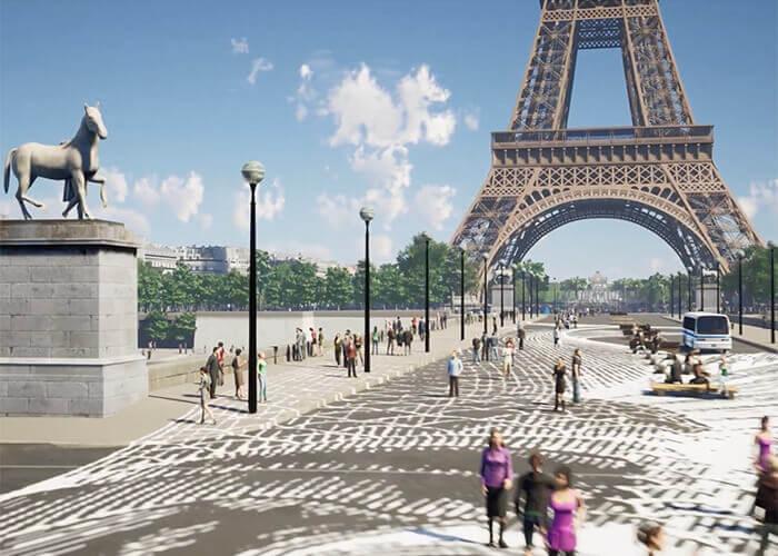 Virtuelle Simulation des Eiffelturms und der umgebenden Fußgängerzone. Mit freundlicher Genehmigung von GP+B.