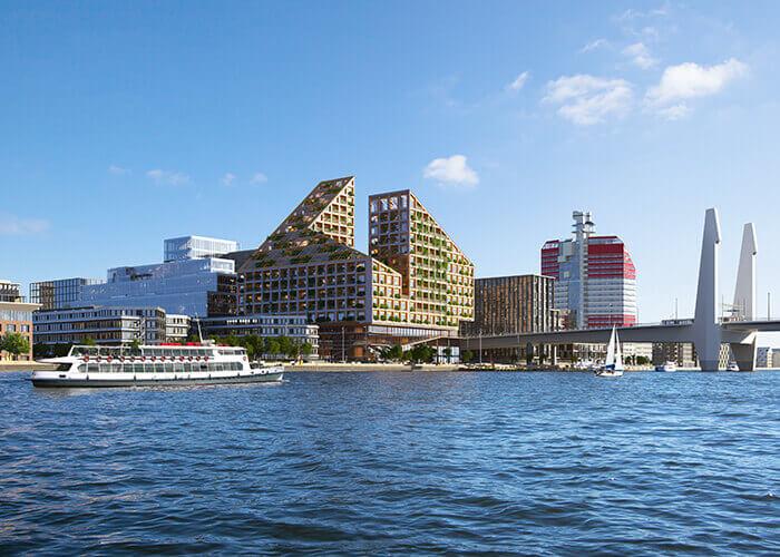 """Skandinavische Architektur am Göteborger Gästehafen: Kaj 16 wird vom Erdgeschoss bis zur """"Baumkrone"""" aus nachhaltigen Materialien gebaut."""