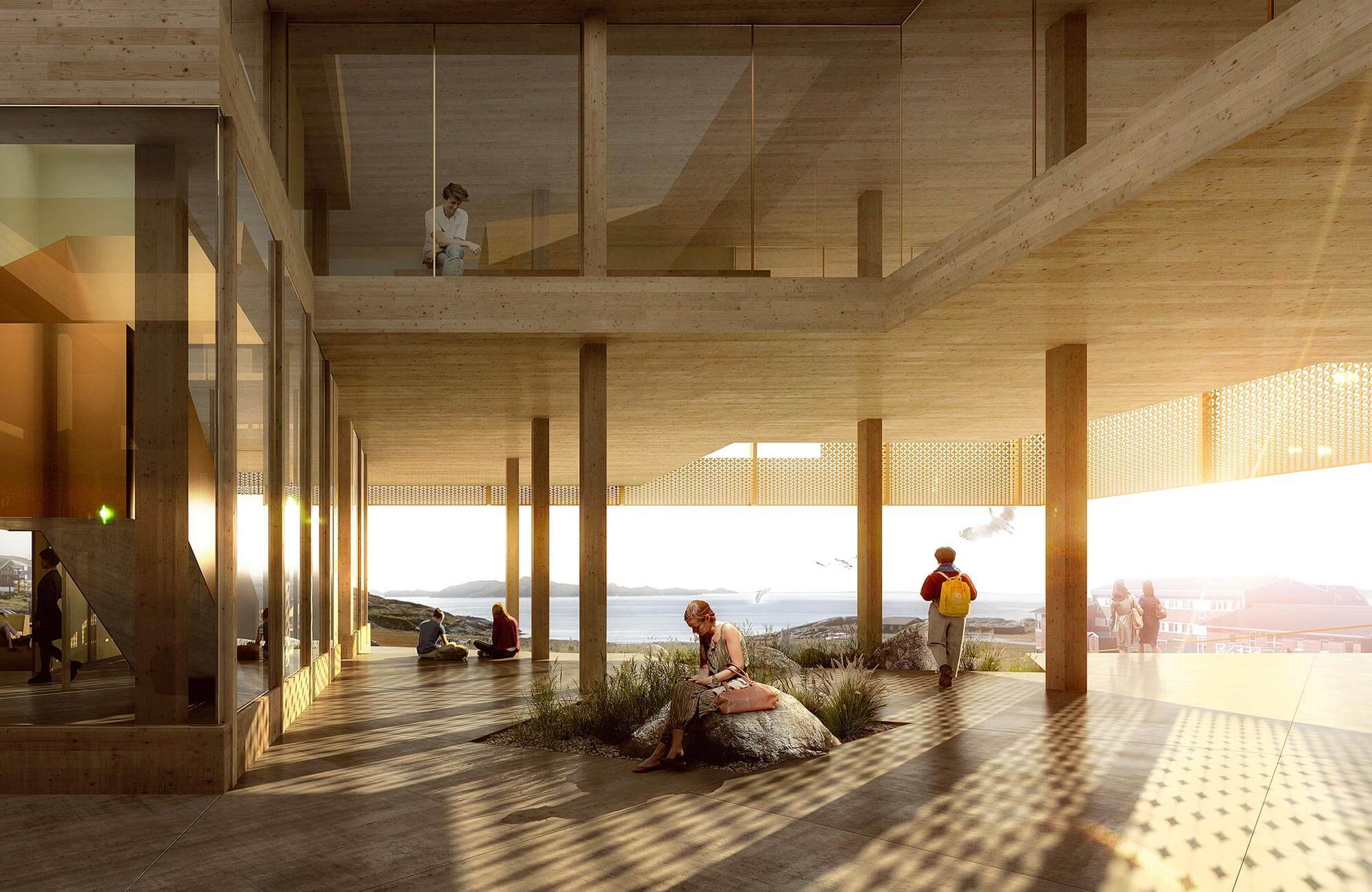 Skandinavische Architektur in einer nach Plänen von White Arkitekter gebauten Klinik in Grönland.