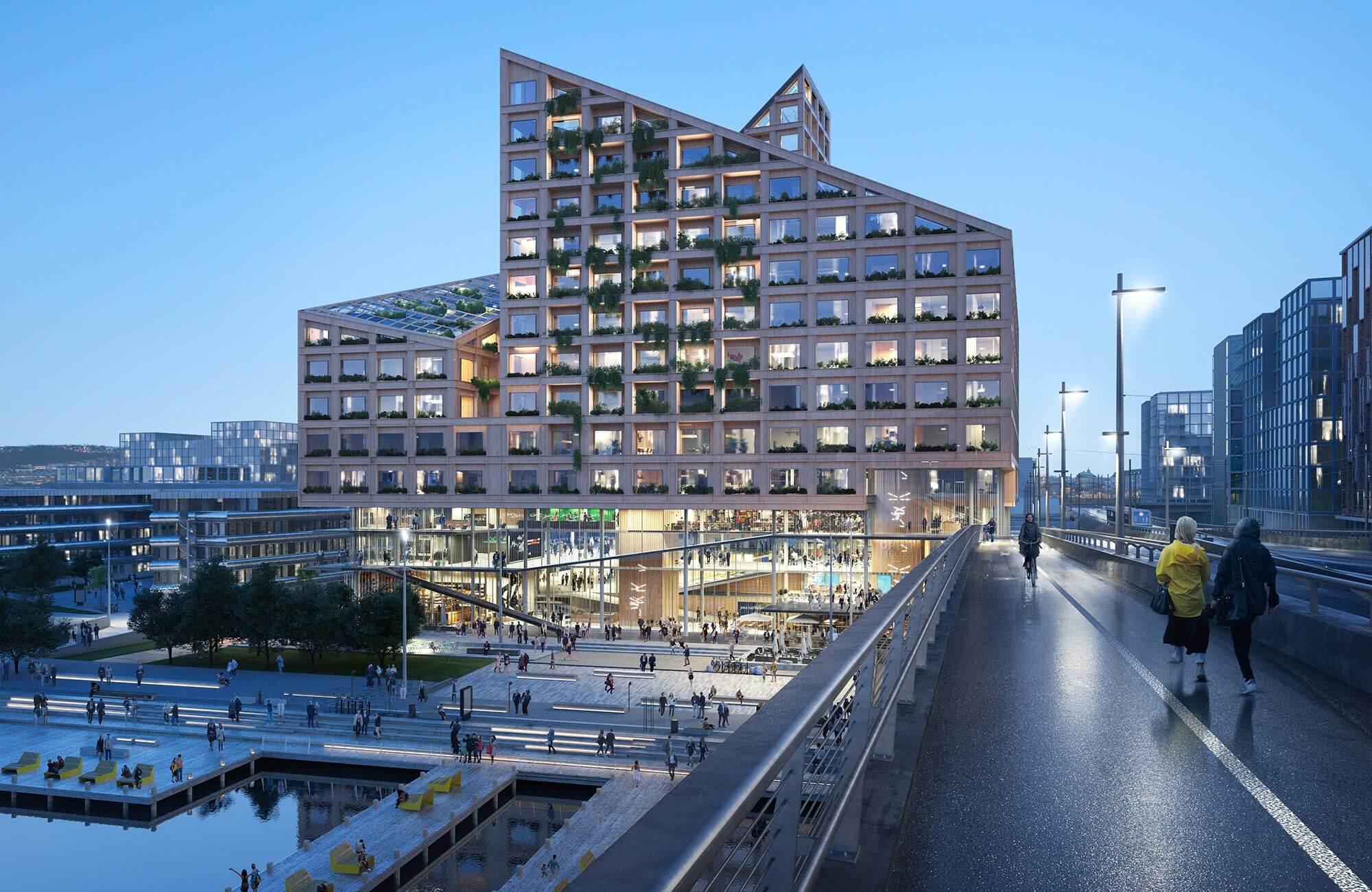 """Nachhaltige Baustoffe können wie im im Mischnutzungsprojekt """"Kaj 16"""" in Göteborg einheimische Hölzer, Gräser und Sträucher sein."""