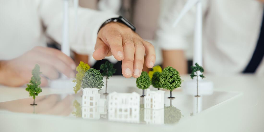 Beim nachhaltigen Bauen geht es um nachhaltige Gebäude und nachhaltige Baustoffe.