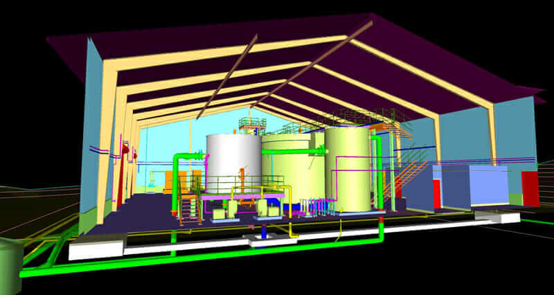 post construction phase 3D model of water treatment project
