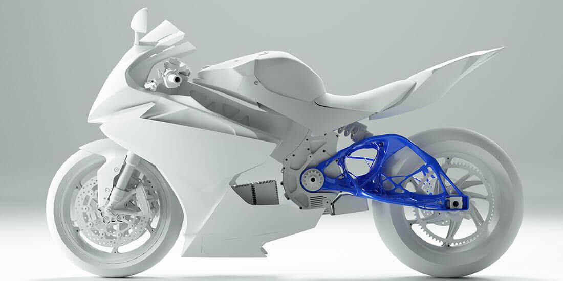 ジェネレーティブ デザインの例: Lightning Motorcycles が再設計したオートバイのリア サスペンションのスウィングアーム