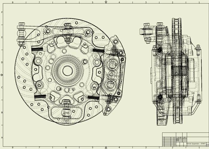 3 次元 設計 ブレーキ 組立図