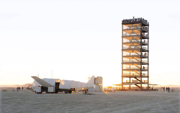 10-story Portable Tower erected at Burning Man using manufactured construction materials