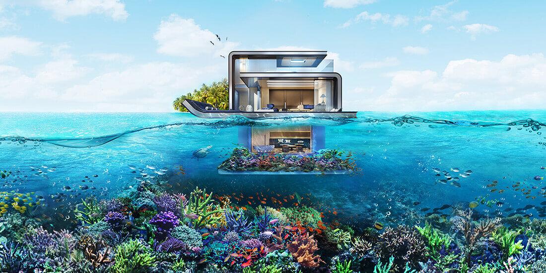 水中 建築 seahorse villas ドバイ