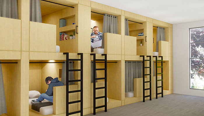 adaptive reuse Re-Habit sleeping pods KTGY