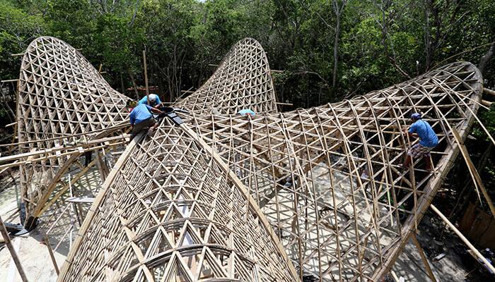 竹 建築 組み立て luum temple