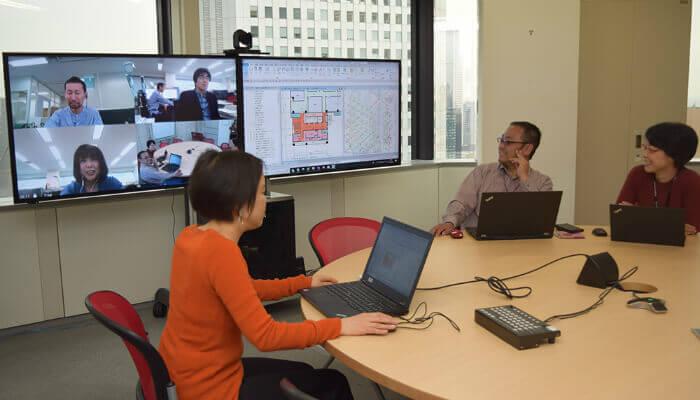 コラボレーション機能やオンラインチャットなどを活用して働き方改革の実現に取り組む日本設計
