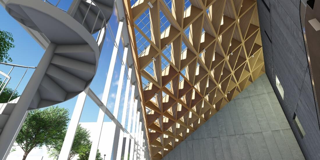 BIM 活用によるコミュニケーション力で実現した大規模木造建築 ROOFLAG