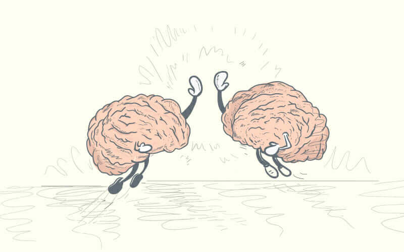 an illustration of brains high-fiving each other