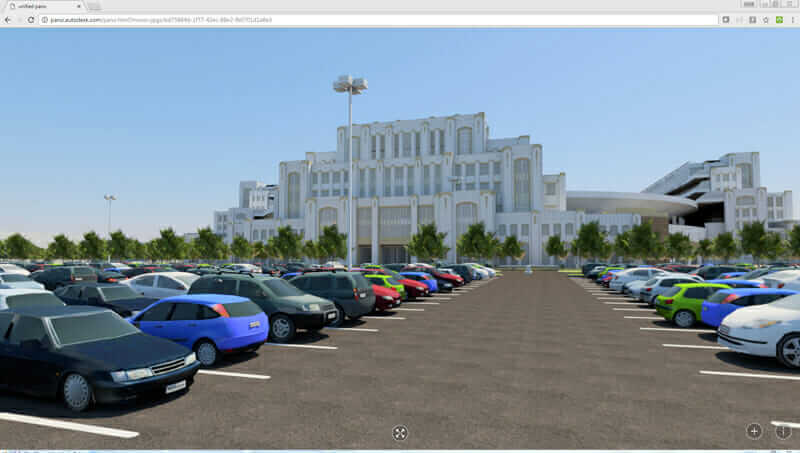 A 360 panoramic image created in Autodesk Navisworks made from an InfraWorks model with Civil 3D objects, AutoCAD line work, and imported Revit models.