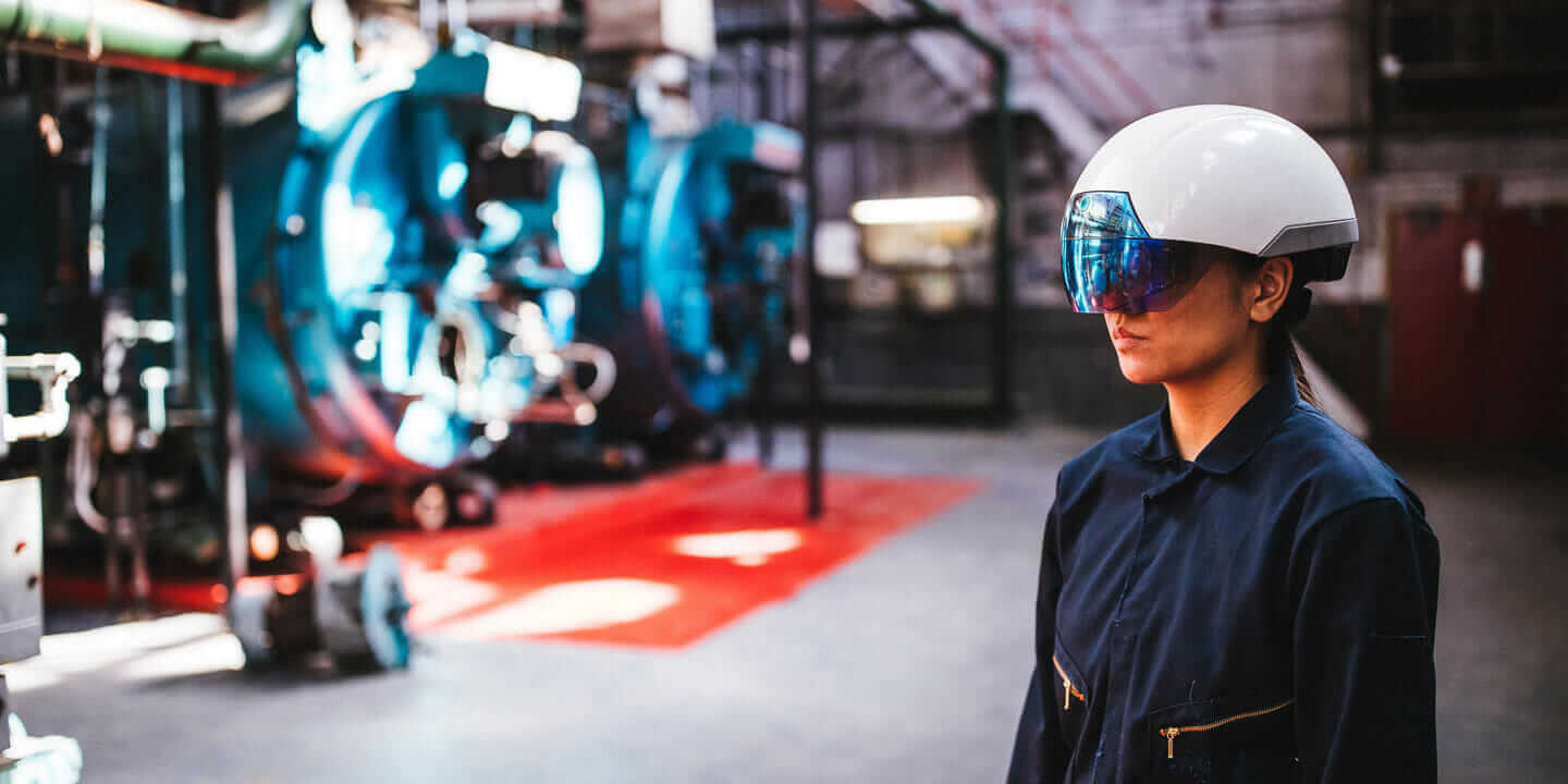 augmented reality in construction woman wearing helmet